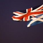 The saltire flag and the union jack.