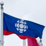 CBC/Radio-Canada flag in front of their headquarters in Montreal.The Canadian Press Images-Mario Beauregard