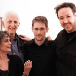 Roy with (from left) Daniel Ellsberg, Edward Snowden and John Cusack. Photograph- Courtesy of John Cusack