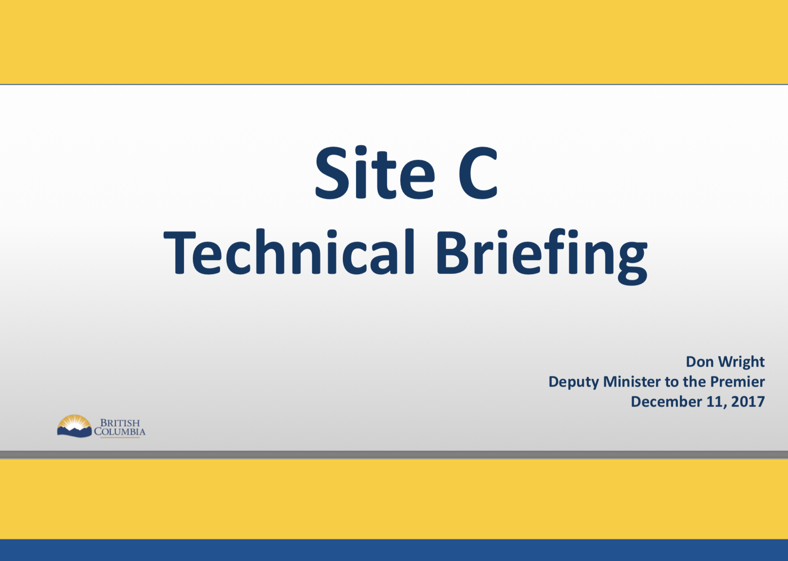This Site C Technical Briefing Prepared To Justify Site C